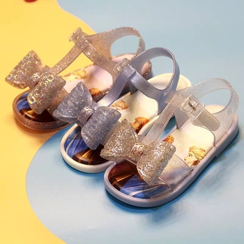 New Girls Mini Melissa Jelly shoes 2020 Fashion Elsa Princess Candy Sandals Children's Summer Beach wear sandal Shoes 13-18CM image