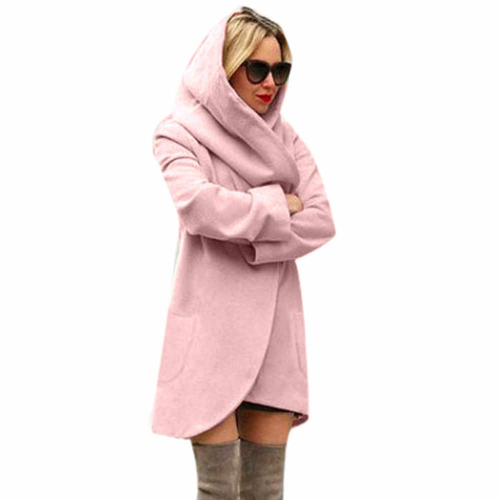 Vrouwen Solid Dunne Hooded Jas Vrouwen Wollen Vintage Losse Warme Jas Hooded Casual Windjack Warme Overjas d2