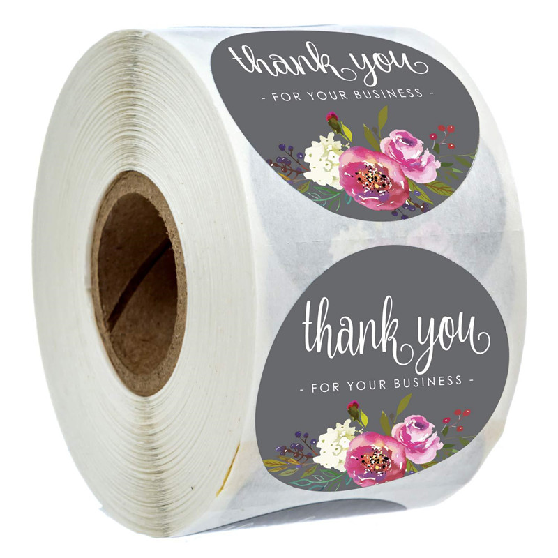 Natural Kraft Paper Round Flower Sticker Thank You For Supporting Me Business Sticker Seal Label Stationery Sticker 500 Rolls