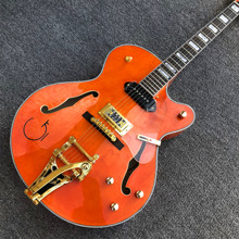 Высокое качество G оранжевая электрическая Джаз гитара, Золотой мост бигсби, фабрика полые тела Электрогитара