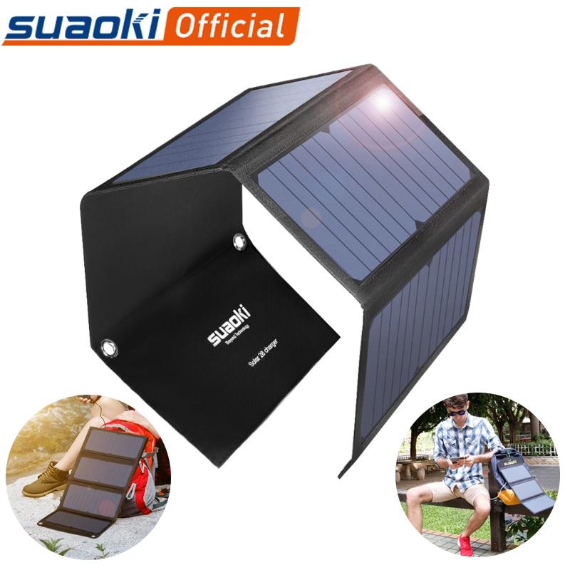 Suaoki 18w/21w/25w painel solar portátil dobrável à prova dusb água solar carregador de energia power bank usb para telefone carregador ao ar livre