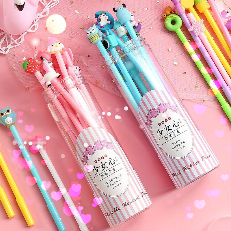 10pcs Kawaii Gel Pen For Kids Cute Stationery Girl Heart Gift School Supplies Random Design