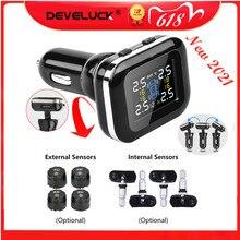 Develuck Car TPMS Cigarette Lighter Digital tpms  Car Tire Pressure Alarm System  USB Port Security Alarm Systems tire pressure