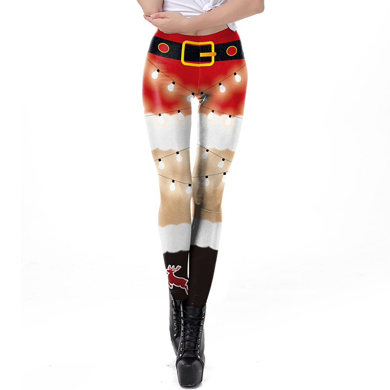 Women Leggings 2020 Fashion 3D Digital Printing Christmas Leggings Funny Sexy Printed Elastic Christmas Skinny Leggings