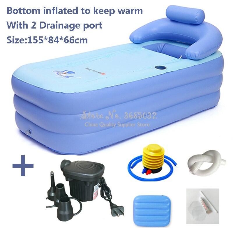 Baignoire gonflable en plastique baignoire pliante adulte baignoire isolation inférieure avec 2 ports de Drainage 155*84*66 cm, W