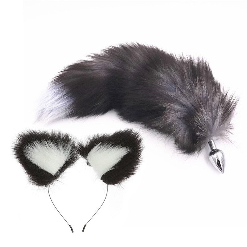 Metal Anal Plug Fox Tail Plush <font><b>Cat</b></font> Ears,Butt Bead Plug,Insert Stopper Set,Cosplay <font><b>Sex</b></font> <font><b>Toys</b></font> For Woman Couples, Prostate Massager image