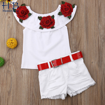 Humor Bear Summer Baby Girls Clothes Suit 2020 Off Shoulder 3D Rose Flower Top+ Shorts Girls' Clothing Sets  2-6Y Outfit girls open shoulder flower embroidery top