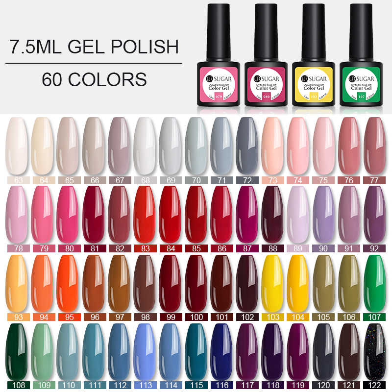 UR Gula Nail Art Baru Desain 60 Warna Rendam Off UV Gel Cat Pernis Cat Kuku UV Cat Kuku Gel 7.5Ml Warna Enamel