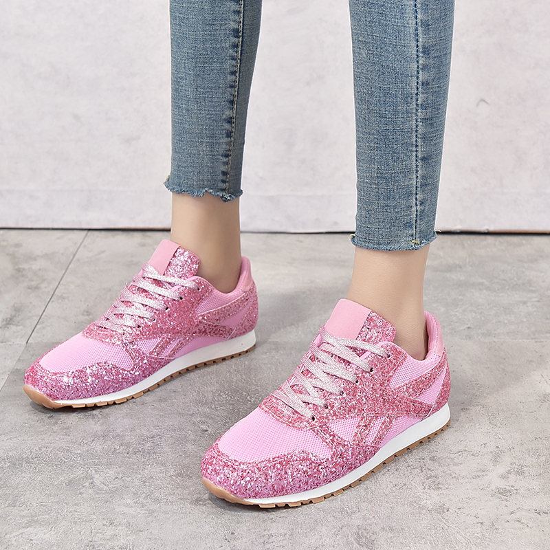 Rimocy Pink Glitter Sneakers Women Spring Summer 2020 Breathable Mesh Platform Vulcanize Shoes Woman Plus Size 43 Casual Flats