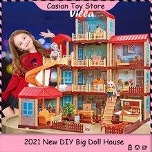 Super Big 91CM DIY Dollhouse with 2 Dolls  Furniture lights Girls Doll House Princess Castle Villa Toys for Kids Children