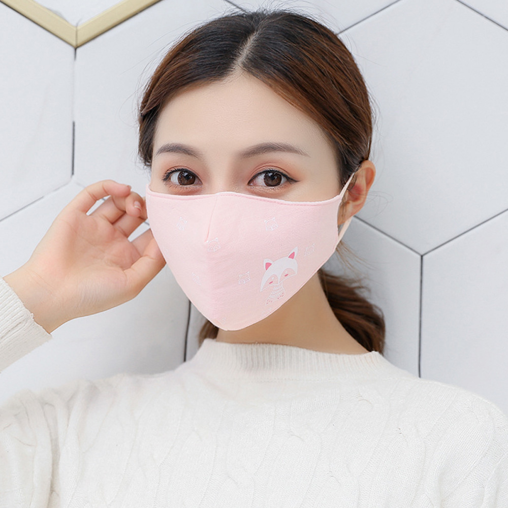 1Pcs Women Face Mouth Mask Winter Warm Cotton Windproof Washable Adjustable Earloop Respirator