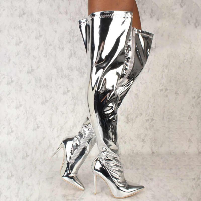 Mùa Thu Nữ Màu Bạc Trên Đầu Gối Giày Nữ Dây Kéo Bling Mỏng Cao Gót Mũi Nhọn Đùi Boot Nữ Giày Plus kích thước