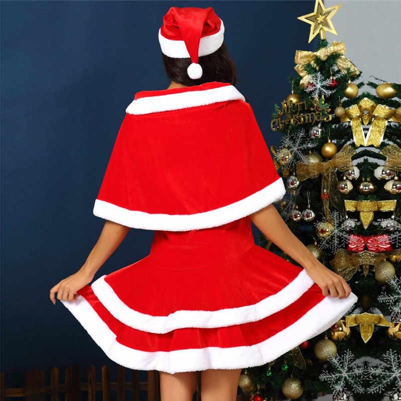 Moda sukienka kobiety sukienka świąteczna kobiety z kapeluszem + płaszcz czerwony zestaw szata Automne Hiver 2019 Xmas Party Cosplay sukienki N27