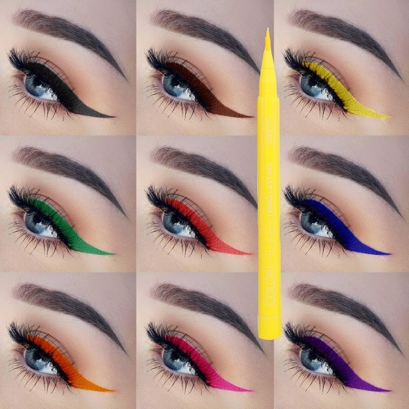 Matte eyeliner waterproof liquid is easy to apply, long-lasting eyeliner blue red green white gold yellow multicolor image