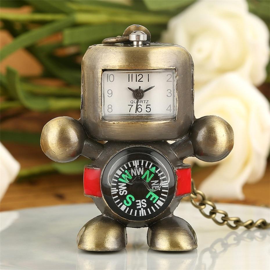 Cool Robot Shape Pendant Watch Quartz Movement Lovely Bronze Mini Necklace Pocket Watch For Men Women Kids With Sweater Chain