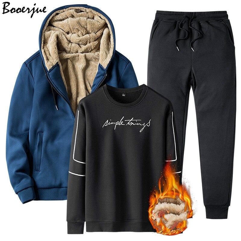 Winter Warm Tracksuit 3 Pieces Sweatshirt Men Set Plus Velvet Hoodies Jacket Hoodie Pants Men Clothing Set Sportsuit Joggers Men