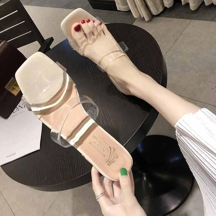 Sandalias Mujer verano americano temperamento Joker simple grueso talón sexy con cristal zapatos medio drag zapatillas Mujer