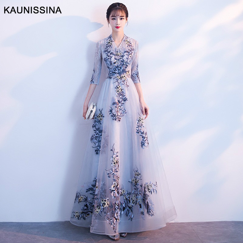 KAUNISSINA Long Evening Dress Embroidery Party Gowns Floor Length Prom Dresses A-Line V-Neck Banquet Evening Robe Vestidos