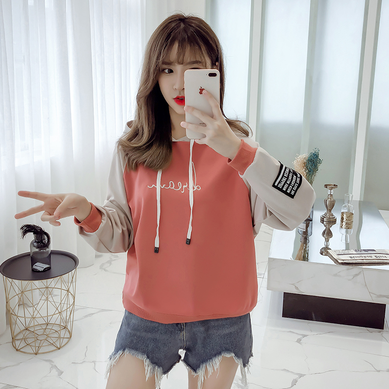 Hooded pullover girls autumn clothes Korean version of loose casual 2019 new student letter print women's sweatshirt 39