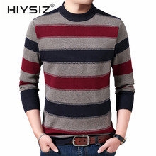 HIYSIZ Brand 2019Winter Streetwear Pull homme knitted casual mensweater O-neck warm striped sweaters winter clothes H3021