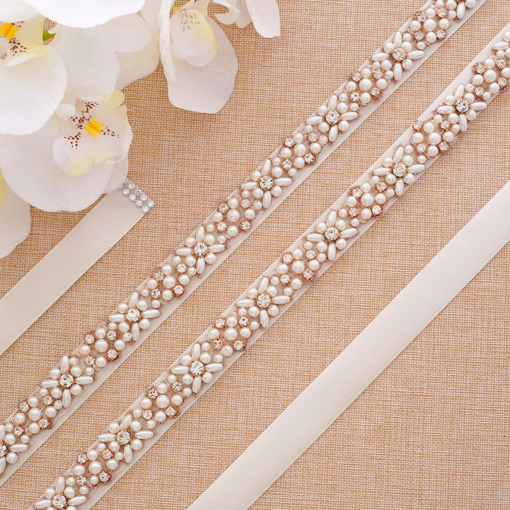 Luxury Rhinestone Faux Pearl Waistband Bridal Wedding Sash Evening Dress Belt