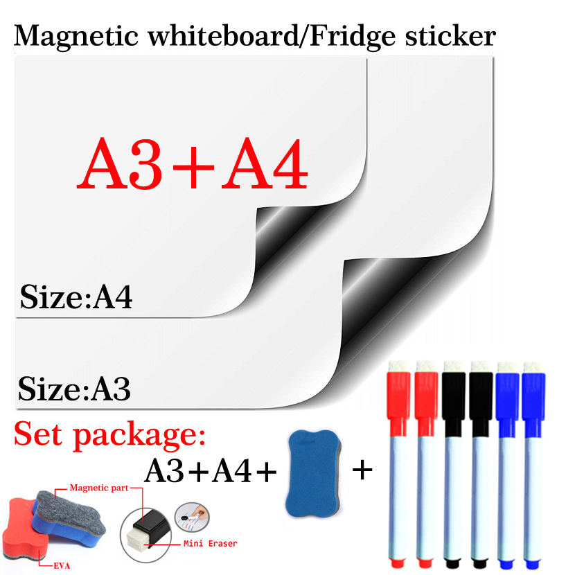Magnetic Whiteboard Soft Home Office Kitchen School Dry Erase Board White Board Flexible Pad Magnet Fridge A3+A4 Set Package