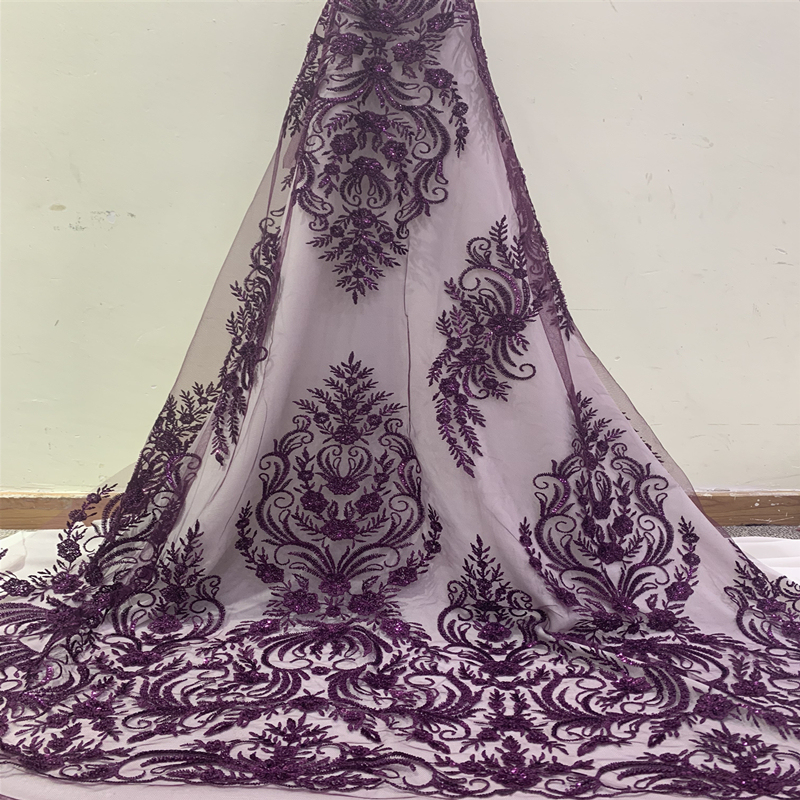 Latest African Lace Fabric 2019 High Quality Swiss Voile Lace Embroidery Mesh Beaded Nigerian Lace Fabrics Material For Sewing