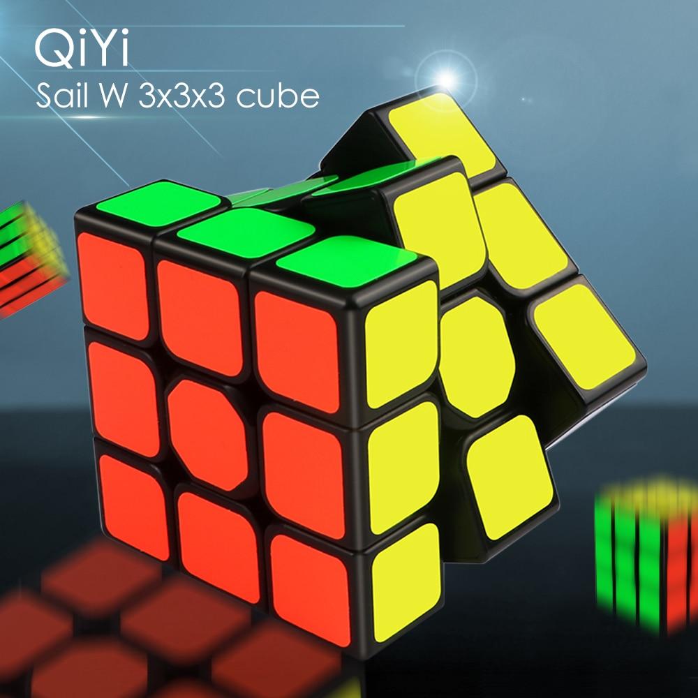 QiYi yelken W 3x3x3 hız sihirli küp siyah profesyonel 3x3 küp bulmaca eğitici oyuncaklar çocuk hediye için 3x3