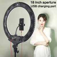 18 pulgadas LED anillo luz 3200-5600K 416 Uds Led perlas 65W fotografía iluminación LED anillo lámpara con trípode para maquillaje vídeo YouTube