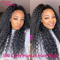 Siyun Show 360 peluca Frontal de encaje 30 pulgadas peluca rizada sin pegamento 250 densidad 360 Peluca de encaje completo pelucas de cabello humano rizado para mujeres negras