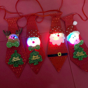 LED Christmas Tie Glow Sequins Christmas Glowing Tie Santa Claus Snowman For Kids Cartoon Tie Decoration New Year Gift Decor