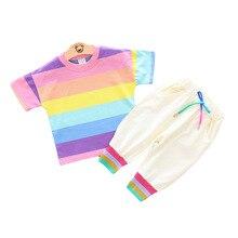 цена на Baby Children Children's Color Rainbow Stripes Two-piece Suit Fashion Cotton Summer Boys Short-sleeved Suit Kid Clothes Striped