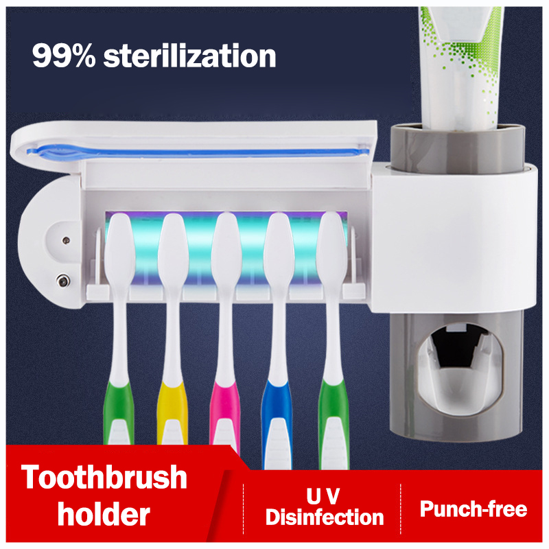 2 in 1 UV Light Ultraviolet Toothbrush Sterilizer Toothbrush Holder Automatic Toothpaste Squeezers Dispenser Bathroom Set image