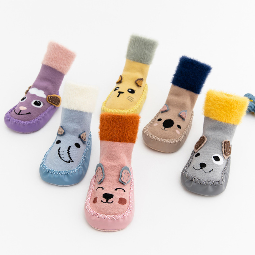 Infant Cute Warm Socks Anti-slip Cotton Socks Bear Rabbit Pattern Ankle Socks