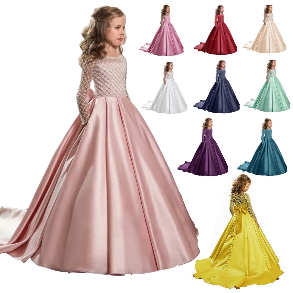 New Style Childrenswear CHILDREN'S Dress Girls Lace Satin Bow Small Tailing Flower Boys/Flower Girls Princess Skirt