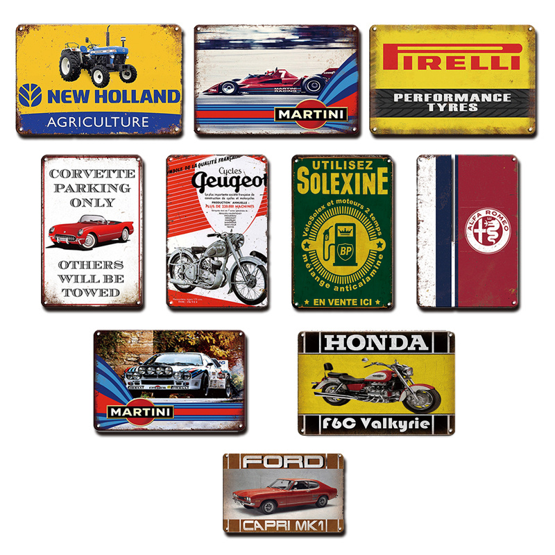 Ford Car Poster Garage Wall Decor Metal Plates Vintage Martini Tin Sign Wall Shelves Industrial Decorative Living Room Signs