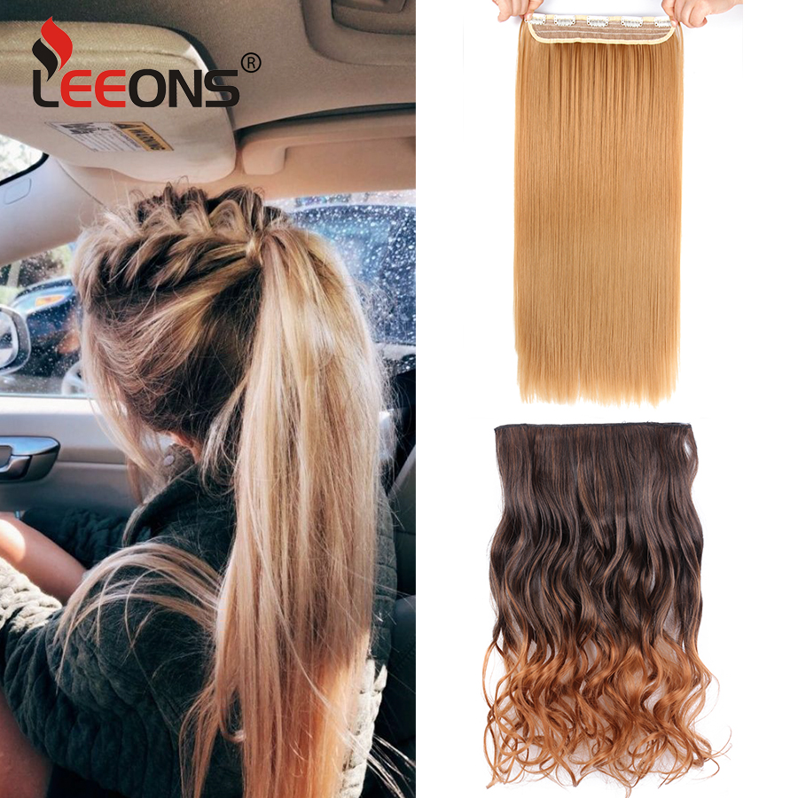 Leeons 5 Clip In Hair Extension Heat Resistant Synthetic Hairpieces For Women Straight Extension Clip Long Fake Set Hair Ombre