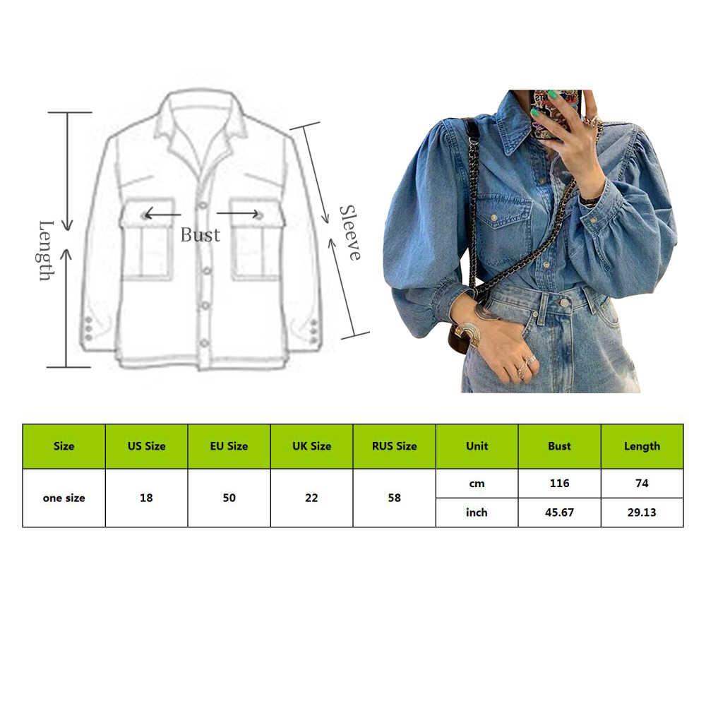 여성 데님 자켓 청바지 루즈 캐주얼 셔츠 탑스 2019 패션 chaqueta mujer veste femme 코트 여성 긴 소매 진 코트