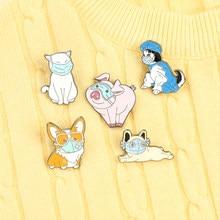 Mascaras animais esmalte pino médico broche ama vida gato cão porco corgi broches saco lapela pinos dos desenhos animados emblema jóias presentes