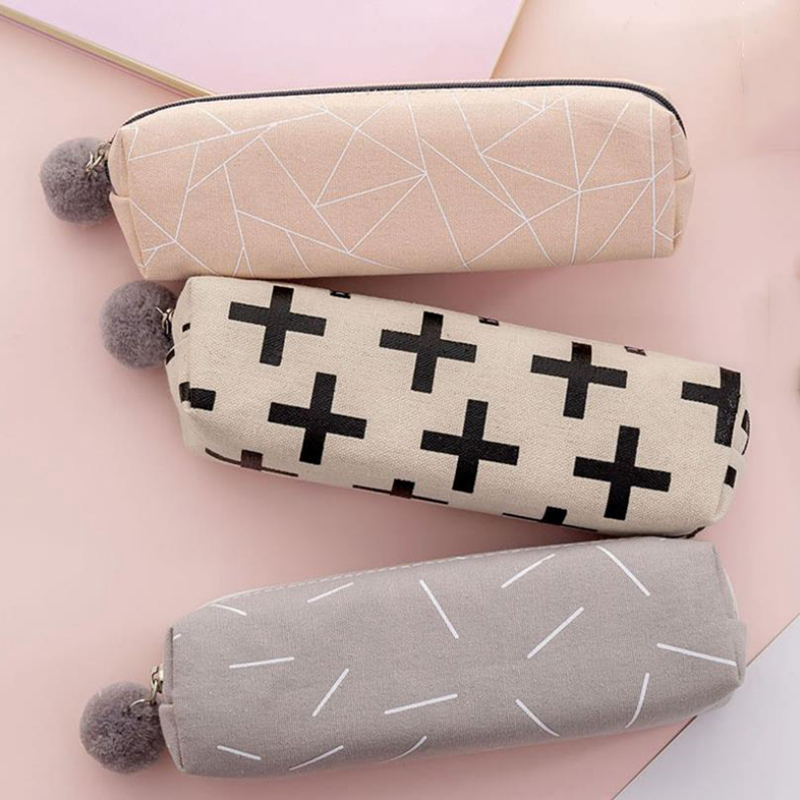 Canvas Pencil Case For Girls Cute Simple Solid Color Pencilcase Kawaii Pen Bag Box Stationery Pouch School Office Supplies Gift