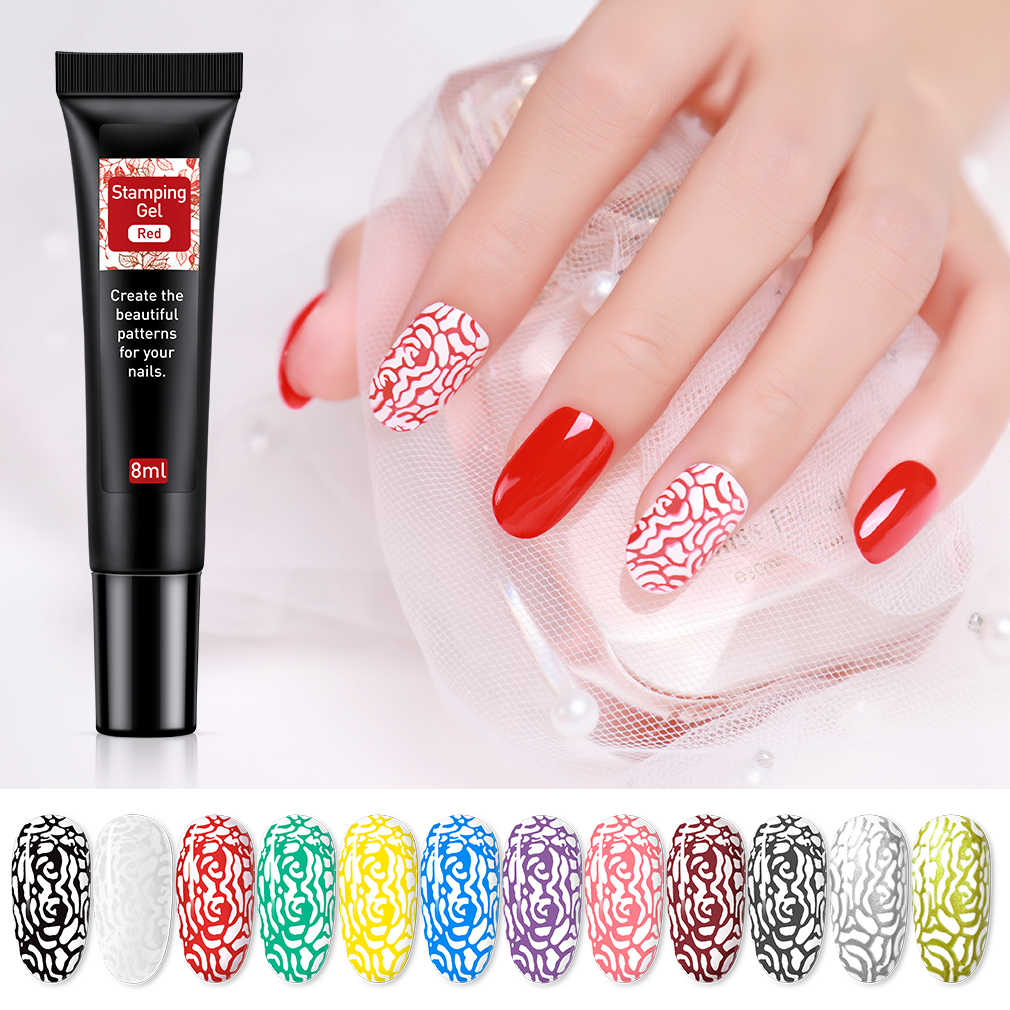 HNM 8ml เล็บปั๊มเจลแสตมป์พิมพ์น้ำมัน UV เจล HYBRID Lucky Lacquer Gellak Soak Off เคลือบเงาสำหรับ nail Art Stamping PLATE