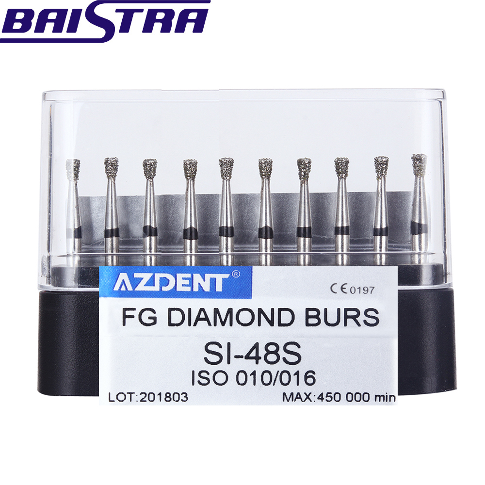 SI-48S 10 Pcs/set Dental High Speed Diamond Burs  Dentist Super Coarse Diamond Dental Lab Tools