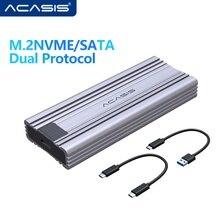 Acasis 듀얼 프로토콜 M.2 SSD 인클로저 케이스 NVMe SATA NGFF SSD 디스크 PCIE M 키 B + M 키 USB C 3.1 Gen 2 10Gbps 알루미늄