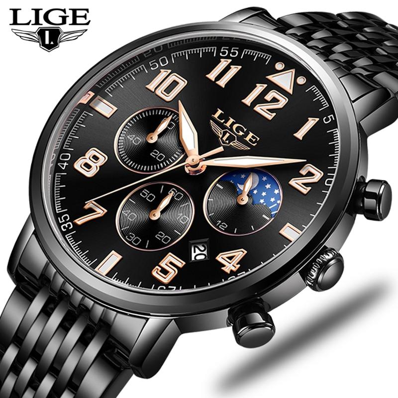 2019 Fashion Mens Watches LIGE Top Brand Luxury Watch Men Sport Full Steel Waterproof Quartz Clock Dress Watch Relogio Masculino