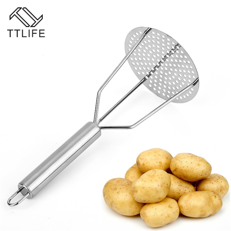 Stainless Steel Pressed Potato Masher Juice Maker Potato Pusher Smooth Potatoes Crusher Vegetable Fruit Tool Kitchen Accessories