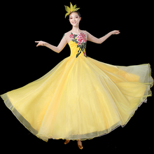 2021 Flamenco Dress Embroidery Classical Dance Clothes Extoic Dance Wear Yellow Performance Costume Opening Dancing Outfit