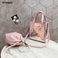 Laser Transparent Handbag Women Bag 2 Piece/ Set Large Capacity Shoulder Bags Color Gradient  Messenger