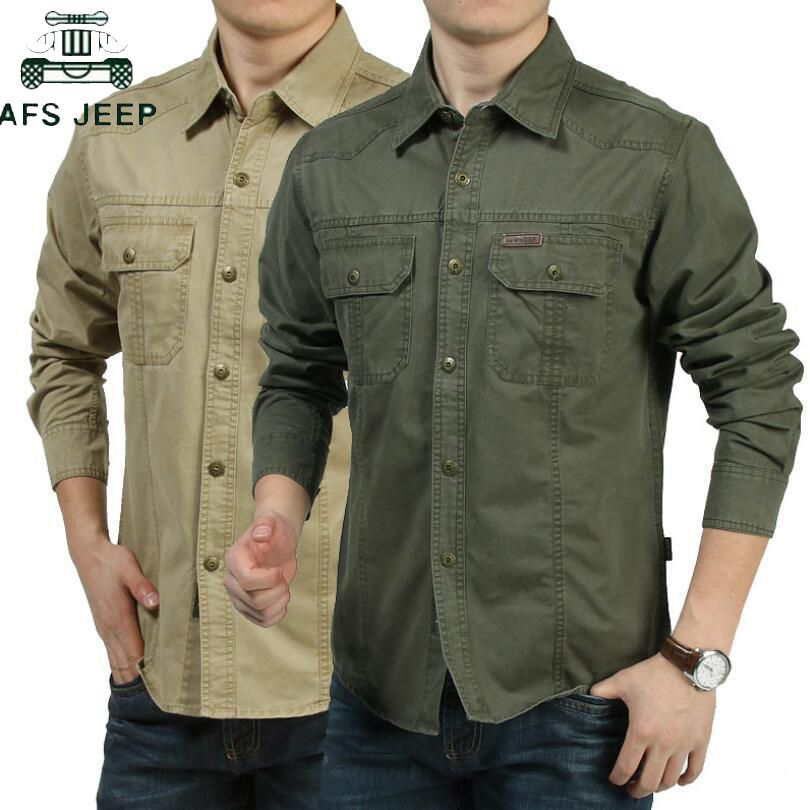 AFS JEEP Summer Casual Dress Shirt 2019 Plus Size M-6XL Military Shirt Men Long SLeeve100% Cotton Camisa Social Masculina