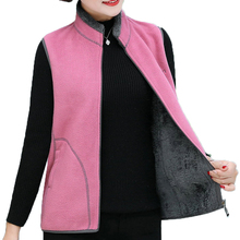 Woman Polar Fleece Vest Warm Soft Thick Gray Plush Liner Waistcoat Female Stand Collar Multicolor Thicken Gilet Autumn
