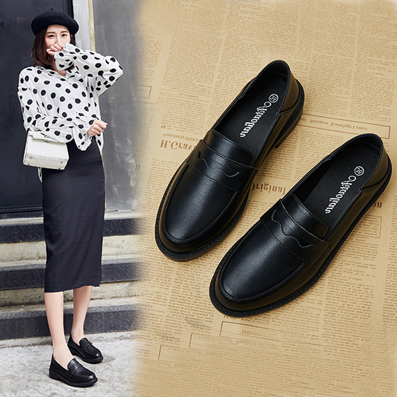 Loafers Women Leather Shoes Spring Autumn Fashion Casual Retro Shallow  Slip On Flats Black Work Shoes for Woman
